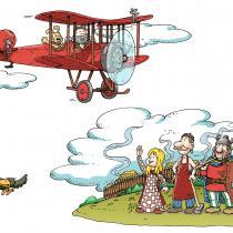 Ilustrace Honzy Smolíka z knihy Horác a Pedro v zemi Bójů