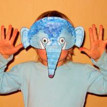 Hračky a masky z papíru - maska slona