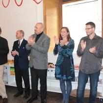 Jaroslav Kuchař, ředitel nakladatelství Portál, ilustrátor Honza Smolík, Klára Smolíková a Martin Bedřich, šéfredaktor Portálu