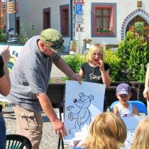 Slavnostní přivítání knihy Medvídek Lup a jeho kamarádi na Žižkově náměstí v Táboře