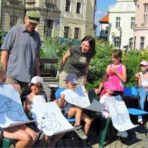 Slavnostní přivítání knihy Medvídek Lup a jeho kamarádi na Žižkově náměstí v Táboře  v létě 2008