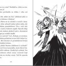Ukázka z dětské detektivky Tajná dvojka A + B: Zločin mezi dinosaury, kterou napsali Jiří W. Procházka a Klára Smolíková a ilustroval Viktor Svoboda.
